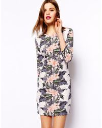 Asos Bodycon Mini Dress in Hawaii Mirrot Floral Print - Lyst
