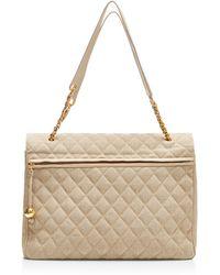 What Goes Around Comes Around Chanel Beige Canvas Half Flap Xl Bag - Lyst