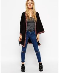 Asos Longline Kimono Cardigan With Embroidered Tipping - Lyst