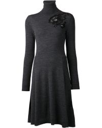Lanvin Gray Sweater Dress - Lyst