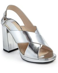 Prada | Metallic Leather Crisscross Block-heel Sandals | Lyst