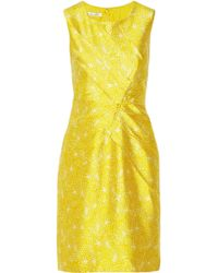 Oscar de la Renta Printed Silk And Cotton-Blend Dress - Lyst