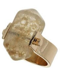 Topshop Large Semi Precious Stone Spin Ring gold - Lyst