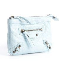 Balenciaga Baby Blue Lambskin Zip Up French Wallet - Lyst