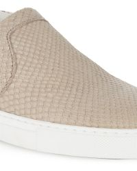 Lanvin Snake-Effect Leather Slip-On Trainers - Lyst