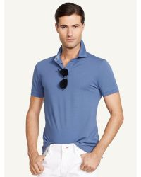 Ralph Lauren Black Label Stretch-Cotton Polo Shirt blue - Lyst