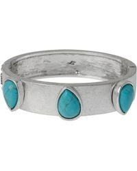 Kenneth Cole Turquoise And Silvertone Bangle Bracelet - Lyst