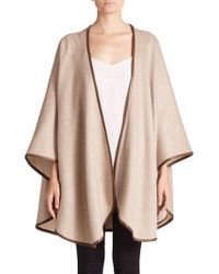 Sofia Cashmere | Leather-trimmed Cashmere Cape | Lyst