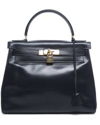 Hermes Pre-Owned Navy Box Calf Kelly 28 Bag - Lyst