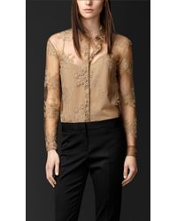 Burberry Embroidered Lace Shirt - Lyst