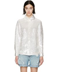 Ashish White Sequinned Shirt silver - Lyst