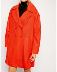 Asos Double Breasted Coat With Split Hem - Lyst