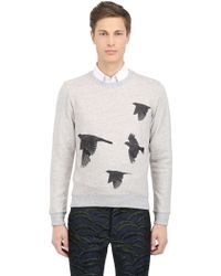 Christian Pellizzari Cotton Sweatshirt with Silk Birds - Lyst