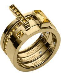 Michael Kors Golden Light Colorado Topaz Stackable Rings Set - Lyst