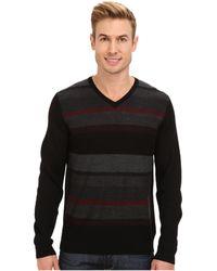 Calvin Klein Merino Plaited Striped V-neck Sweater - Lyst