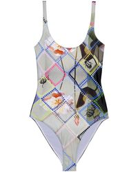 Preen By Thornton Bregazzi - Slogan Scoop-back Swimsuit - Lyst