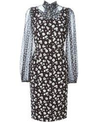 Dolce & Gabbana Sheer Chiffon Floral Dress black - Lyst