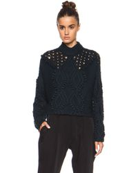 3.1 Phillip Lim Cable and Popcorn Cropped Wool Pullover - Lyst