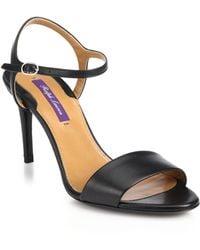 Ralph Lauren Collection Astera 75 Leather Sandals black - Lyst