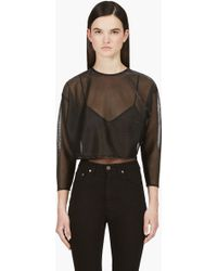 Saint Laurent Black Metallic Threading Crop Blouse - Lyst