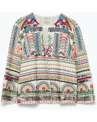 Zara Embroidered Jacket - Lyst