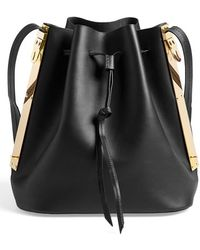 Sophie Hulme Leather Bucket Bag black - Lyst