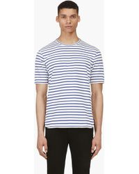 Junya Watanabe Blue and White Striped Knit T_shirt - Lyst