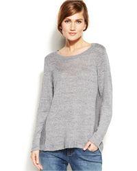 Eileen Fisher Scoop-Neck Linen Sweater - Lyst