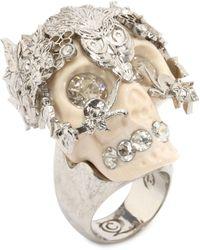 Alexander McQueen Skull Owlet Ring - Lyst