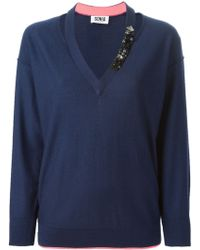 Sonia By Sonia Rykiel Cut-Out Embellished Sweater - Lyst