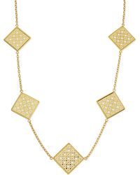 Tory Burch Perforated Square Logo Necklace - Lyst