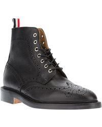 Thom Browne Black Brogue Boots - Lyst