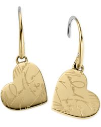 Michael Kors Gold-tone Script Heart Drop Earrings - Lyst
