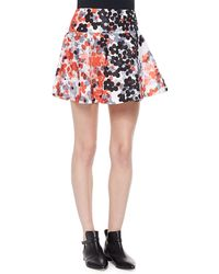 RED Valentino Abstract Flower-Print Flounce Skirt - Lyst