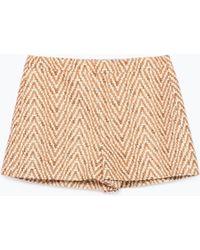 Zara Jaquard Mini Shorts - Lyst