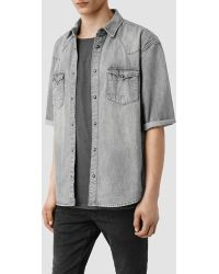 AllSaints Cobo Boxy Short Sleeved Denim Shirt gray - Lyst