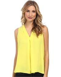 Vince Camuto Short Sleeve V Blouse W/ Inverted Front Pleat - Lyst
