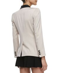 Alice + Olivia Two-tone Leather-collar Blazer - Lyst