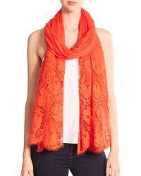 Valentino Roses Lace Cashmere & Modal Shawl orange - Lyst