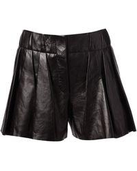 Alexander Wang Pleated Leather Shorts - Lyst