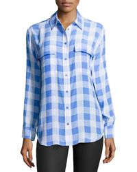 Equipment Signature Checked Washed Silk Blouse - Lyst