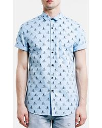 Topman Slim Fit Short Sleeve Bike Print Shirt blue - Lyst