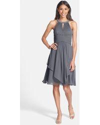 Eliza J Embellished Neck Layered Chiffon Fit & Flare Dress - Lyst