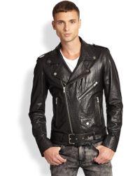 BLK DNM Croc-Embossed Leather Moto Jacket - Lyst
