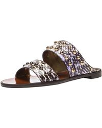 Lanvin Snakeskin Flat Sandals with Studs - Lyst