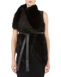 Gareth Pugh Fur  Leather Belted Vest - Lyst