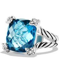 David Yurman Cushion On Point Ring with Hampton Blue Topaz and Diamonds - Lyst