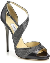 Jimmy Choo Tyne Asymmetrical Leather & Lurex Sandals gray - Lyst
