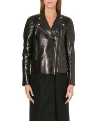 Givenchy Leather and Wool Biker Coat Black - Lyst