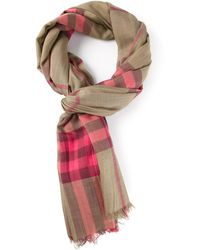 Burberry Pink Checked Scarf - Lyst